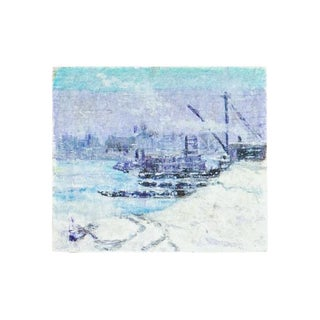 Lilac and Blue Ship Miniature Painting
