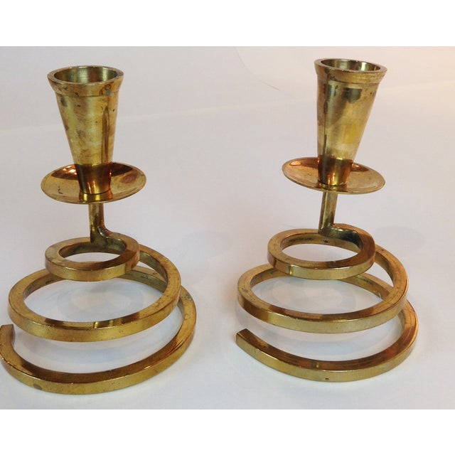 Brass Coil Candlesticks - A Pair - Image 2 of 6