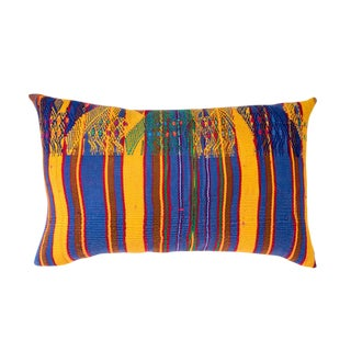 Vintage Guatemalan Yellow & Indigo Pillow