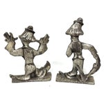 Image of Hand Carved Vintage Collectible Pewter Clowns - 2