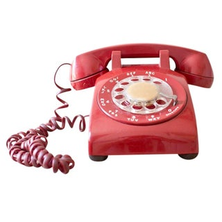 Red 1960s Rotary Telephone Phone