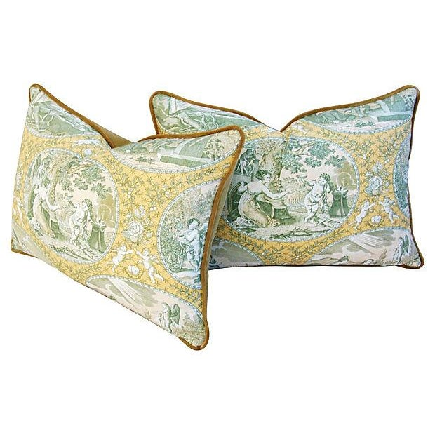 Italian Scalamandre Cupido Toile Pillows - A Pair - Image 3 of 6