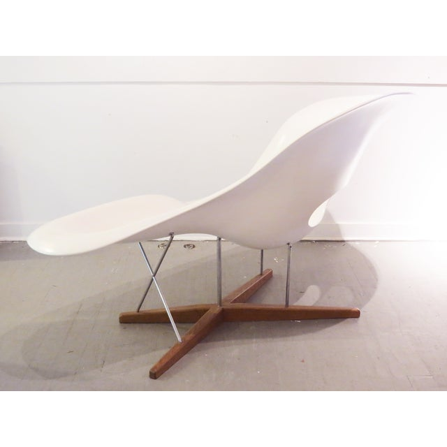 Vintage eames vitra white la chaise chair chairish for Chaise eames rose pale