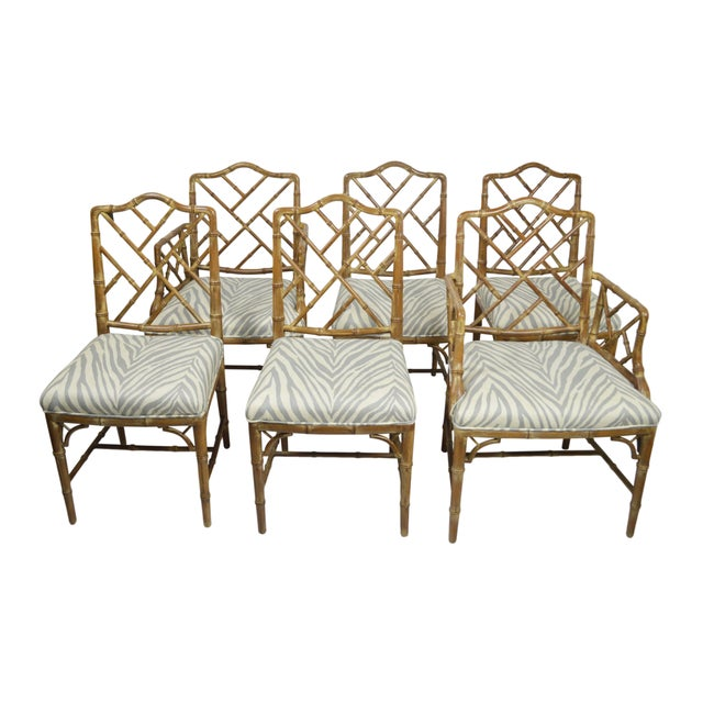 Faux-Bamboo Dining Chairs - Set of 6 - Image 1 of 7