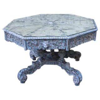 Octagonal Painted Center Dining Table w/Mirrored Top