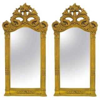 "Two 55"" Tall Rococo Style Gilt Composition Mirrors"