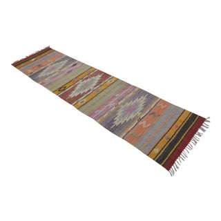 Turkish Kilim Hand Woven Wool Runner - 2′1″ × 8′5″