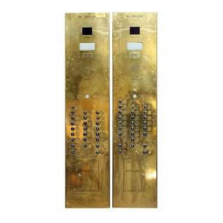 Long Brass Elevator Button Indicator Unit