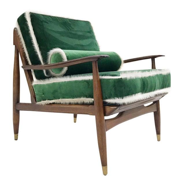 Vintage Walnut Lounge Chair Attributed to Finn Juhl Restored in Schumacher's Emerald Green Silk Velvet and Brazilian Cowhide - Image 1 of 10