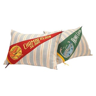Stripe & Banner Pillows - A Pair