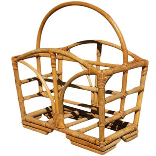 Rattan Magazine Rack with Stacked Base, circa 1950