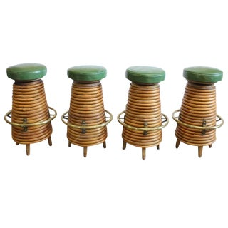 Mid-Century Bamboo and Brass Bar Stools