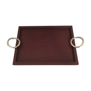 Christofle Vertigo Tray With Silver Plated Handles