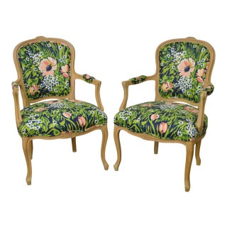 Woodmark French Louis XV Style Pair of Custom Upholstered Arm Chairs (A)