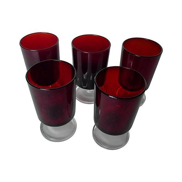 1960's Cranberry Glass Cordial Glasses - Set of 5 - Image 2 of 5