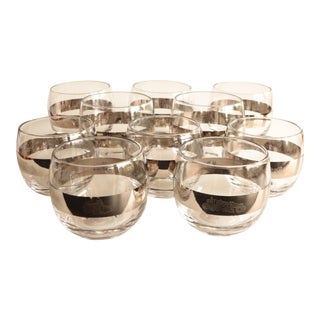 Silver Banded Construction Roly Poly Glasses - Set of 10