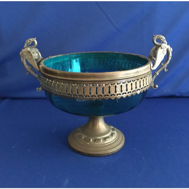 Blue Glass Compote with Dragon Handles - Image 2 of 10