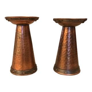 Hammered Copper Candlesticks - A Pair