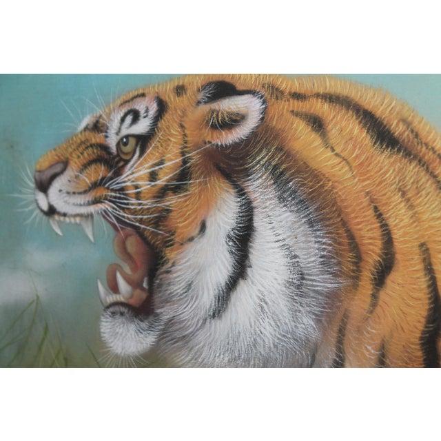 Amazing Pastel Art Tiger Painting W/Bamboo Frame - Image 8 of 8
