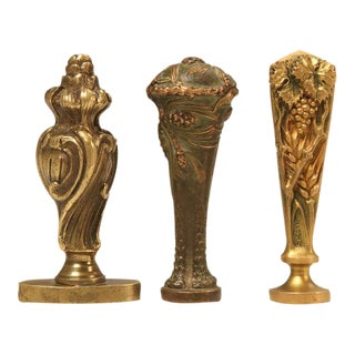Incredible Composed Set of 3 Antique French Bronze Letter Wax Seals
