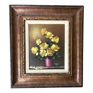 Vintage Floral Oil Painting by D. Gram