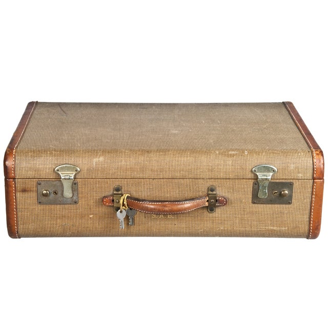 Vintage Fabric & Leather Suitcase - Image 1 of 5