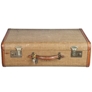 Vintage Fabric & Leather Suitcase