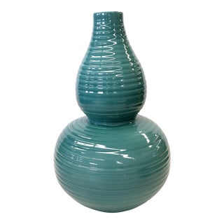 Transitional Turquoise Ribbed Custom Lamp Base