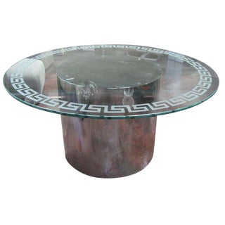 Milo Baughman Style Greek Key Motif Glass Dining Table