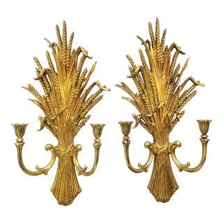 1971 Rococo Gold Flourish Sconces - a Pair