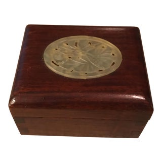 Vintage Asian Oval Soapstone Jade Inlay Jewelry Box