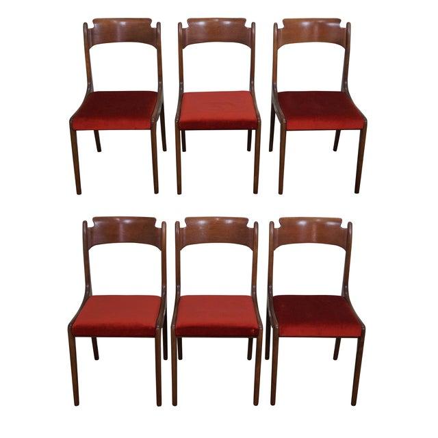 Italian Walnut Midcentury Modern Dining Chairs - 6 - Image 1 of 10