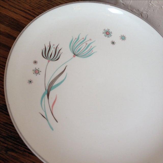 Crooksville Mid Century Floral Atomic Plates - 2 - Image 3 of 7