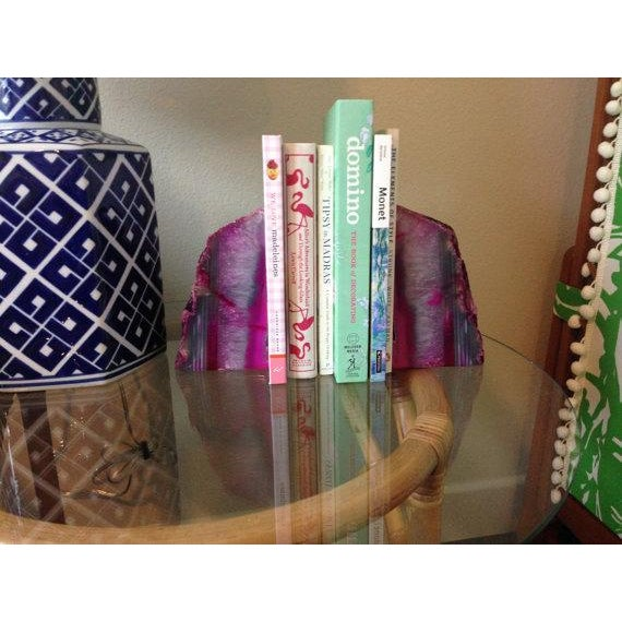 Large Pink and White Agate Geode Bookends - Pair - Image 2 of 6