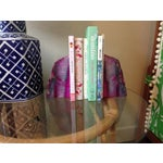 Image of Large Pink and White Agate Geode Bookends - Pair