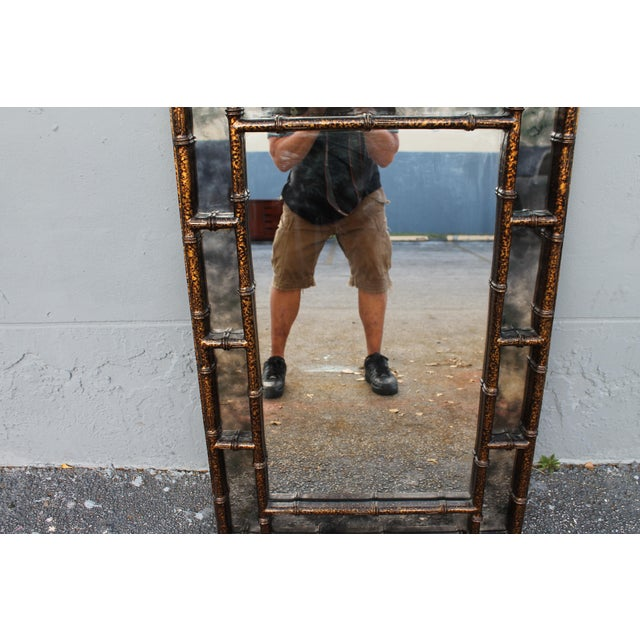 Mid-Century Faux Tortoise Wall Mirror - Image 7 of 11