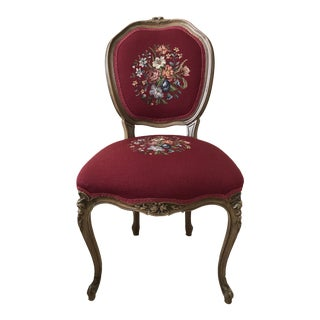 Antique Petit Point Embroidered Chair