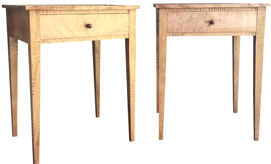 Shaker Style Tiger Maple Side Tables   A Pair