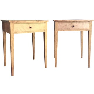 Shaker-Style Tiger Maple Side Tables - A Pair