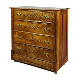 Wooden Dresser With Floral Inlay