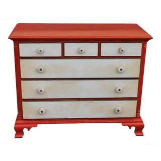 Mid Century Modern Orange & White Lacquer 6 Drawer Dresser