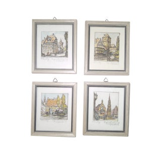 Vintage Small German Colored Etchings - Set of 4