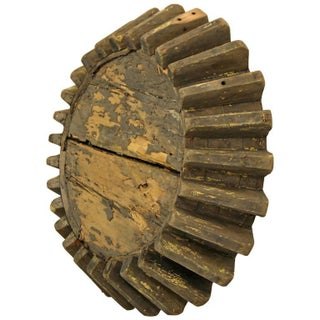 Antique Primitive Industrial Folk Art Wooden Gear