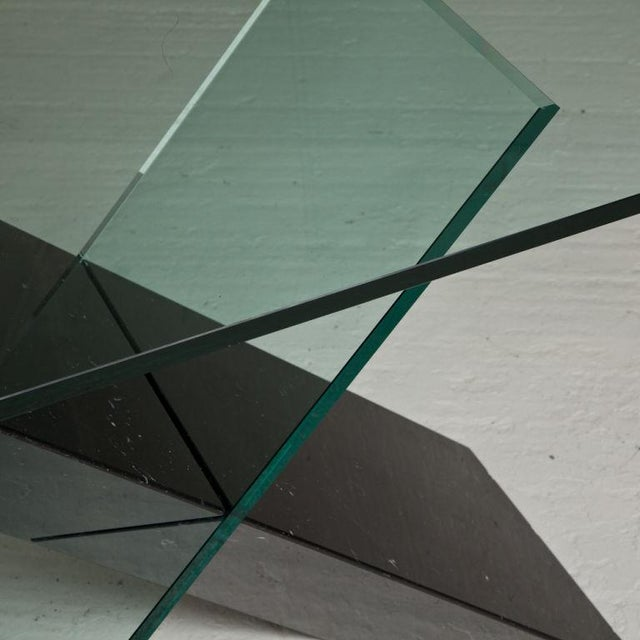 Image of A Black Stone and Glass Console Table designed by Reflex 1980s