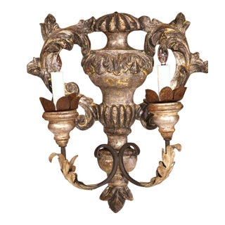 Italian Carved & Metal Two-Light Sconces - A Pair