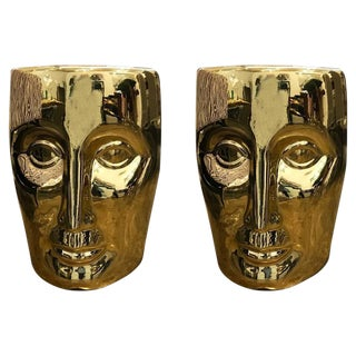 Pair of Philippe Stark Lacquered Gold Bronze Face Stools or Side Tables