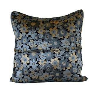 Silver Daisy Silk Brocade 20x20 Pillow