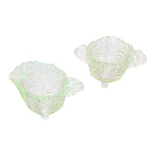 Deco Uranium Glass Creamer & Sugar Bowl Set