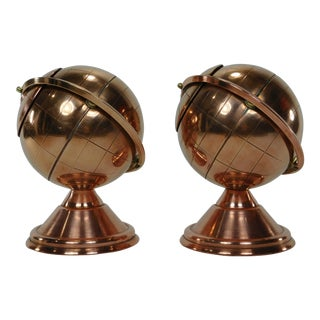 Art Deco Copper Globe Smoke Set - A Pair