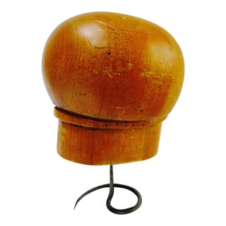 Antique Wood Hat Form & Stand